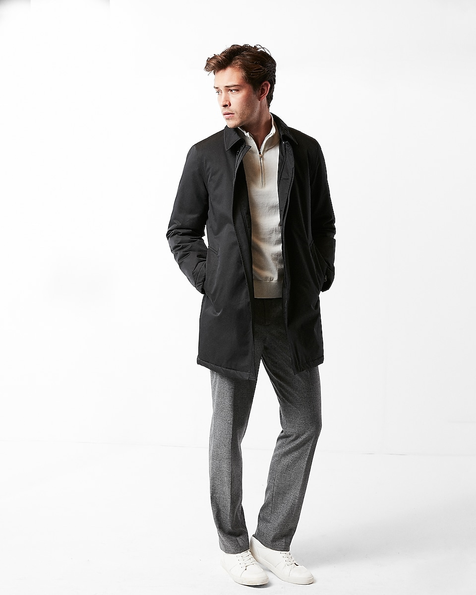 Express Solid Trench Mens Coat (Black)