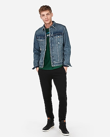 0a94737e8759 Express View · medium wash stretch denim trucker jacket