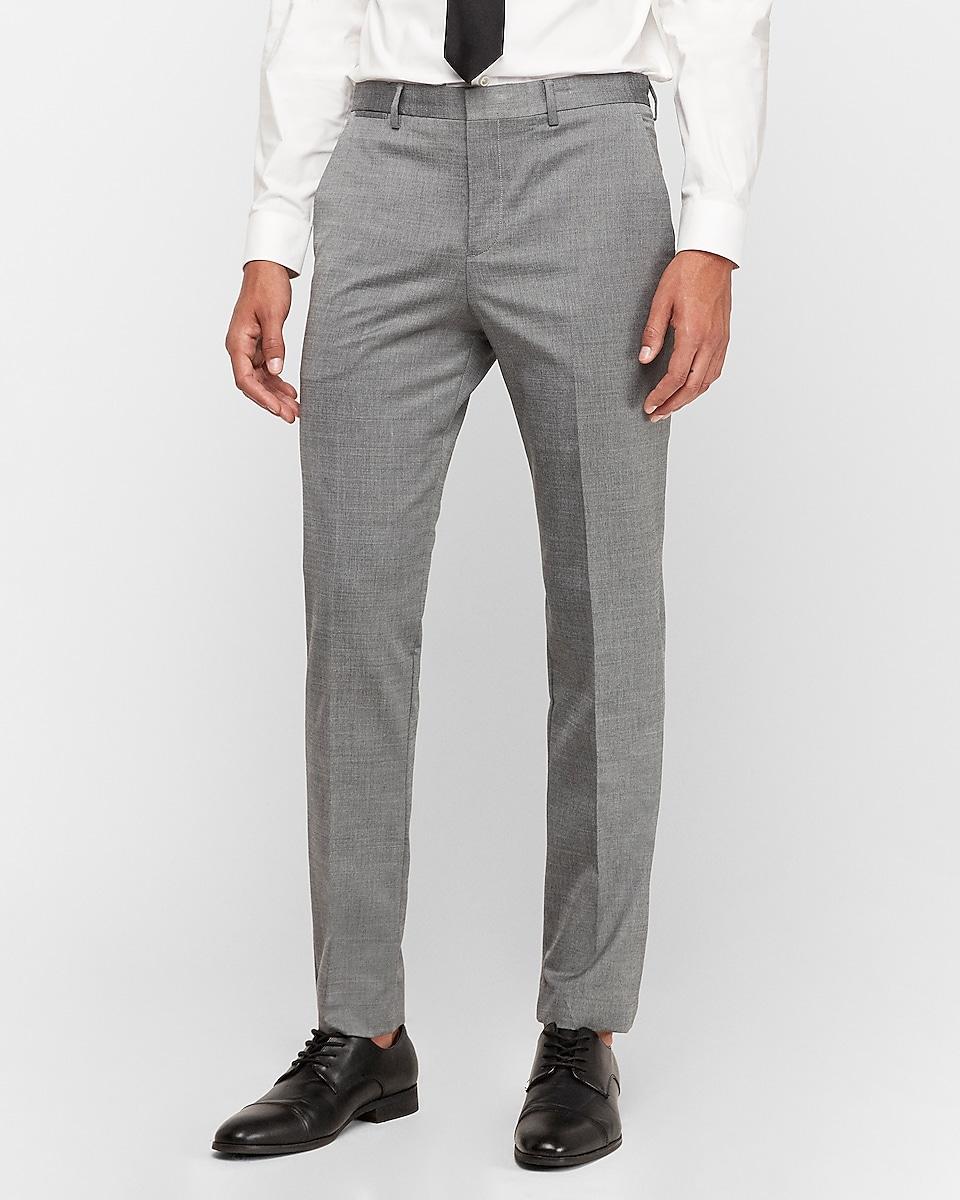 Express Mens Slim Gray Wool Blend Oxford Suit Pant (Light Gray)
