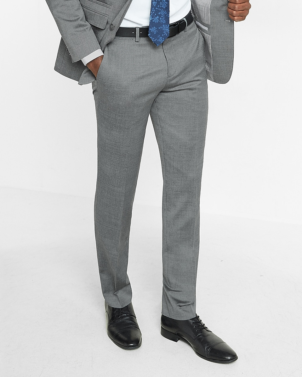 Slim Gray Wool Blend Oxford Suit Pant | Express