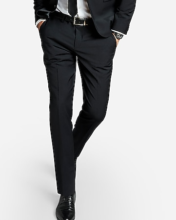 Express View Extra Slim Black Performance Stretch Wool Blend Suit Pant