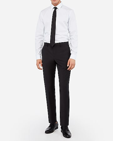 slim black wool-blend performance stretch suit pant