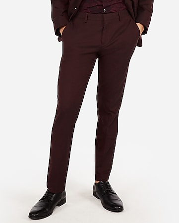 ff45d234610 Express View · slim burgundy oxford stretch wool-blend suit pant