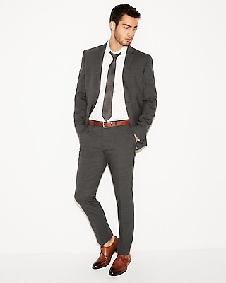 Slim Charcoal Gray Check Stretch Wool Blend Suit Pant by Express