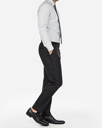 ce725e5904c6 Express View · slim black dobby wool-blend tuxedo pant