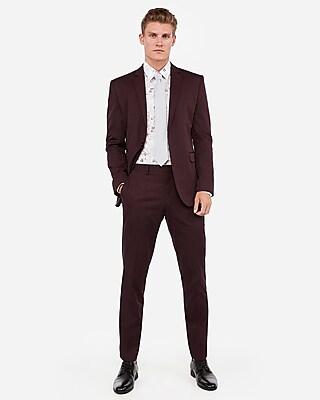 Deals on Express Slim Merlot Cotton Sateen Stretch Suit Pant + Jacket