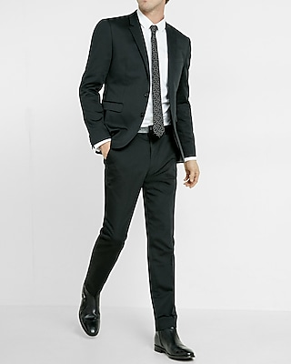 Extra Slim Black Cotton Sateen Suit Pant | Express