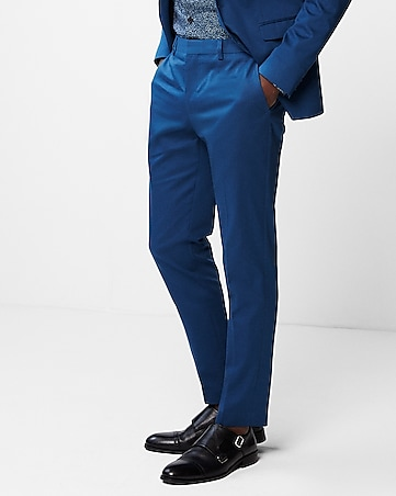 95212bdea1ad21 Express View · extra slim blue cotton sateen stretch suit pant