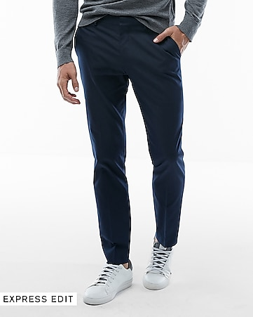 63f96ce0 Express View · extra slim navy blue cotton blend suit pant