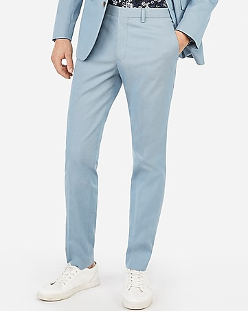 Extra Slim Light Blue Cotton Blend Stretch Suit Pant by Express