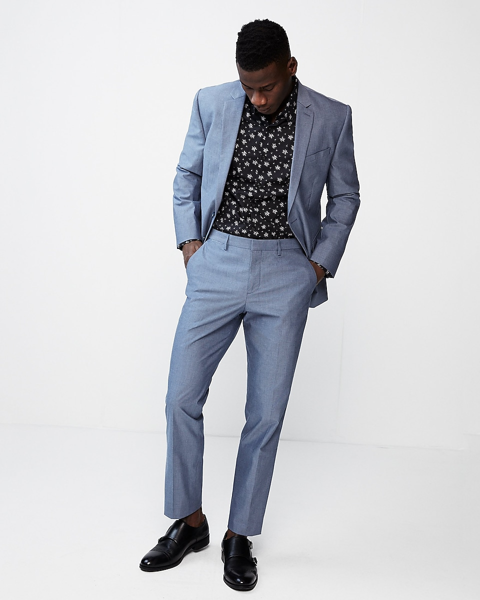 Slim Blue Chambray Cotton Suit Pant