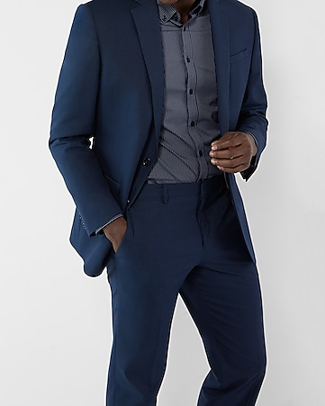 classic navy microdot cotton suit jacket