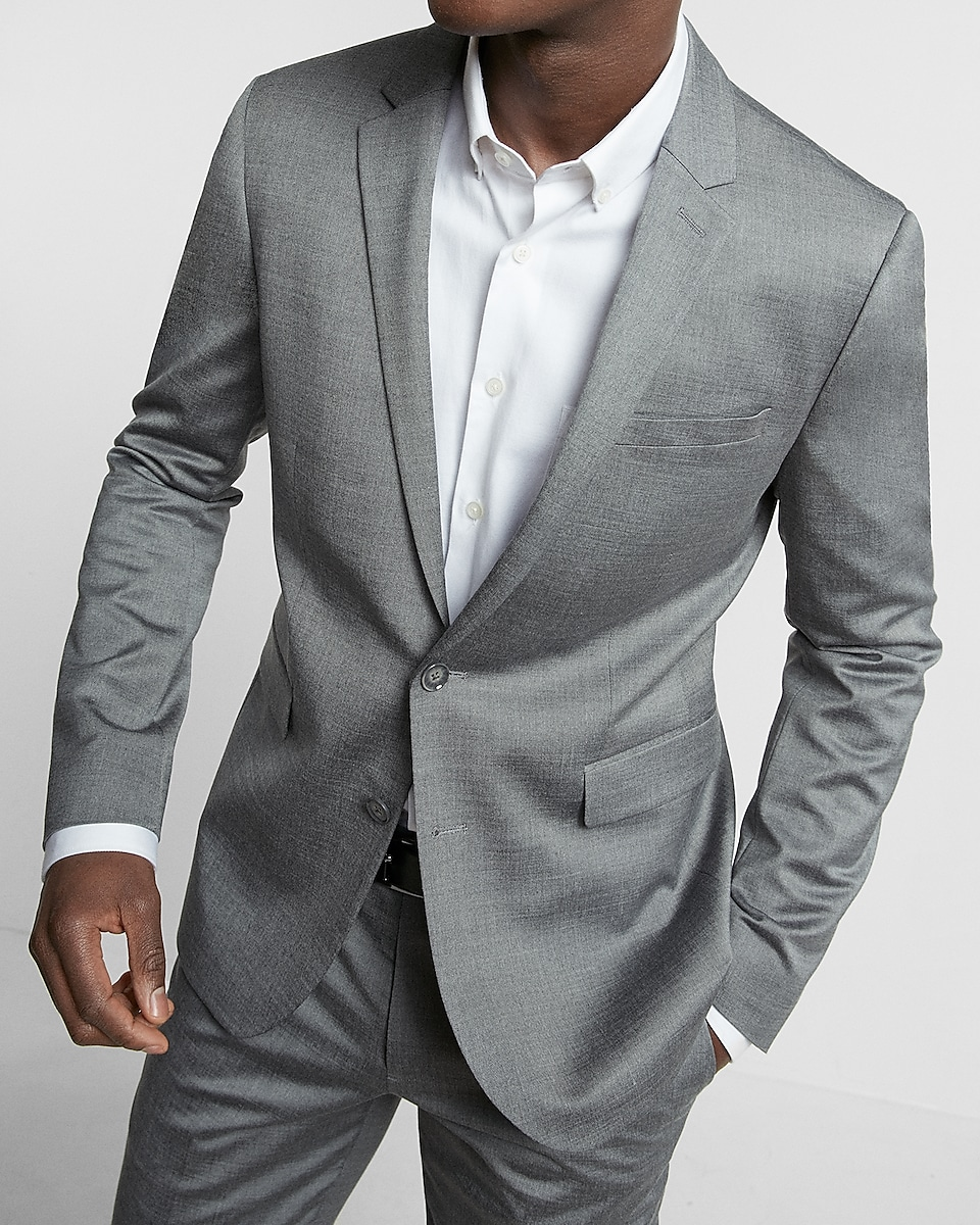 Extra Slim Gray Wool Blend Oxford Suit Jacket | Express