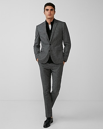 extra slim gray dotted wool-blend suit jacket