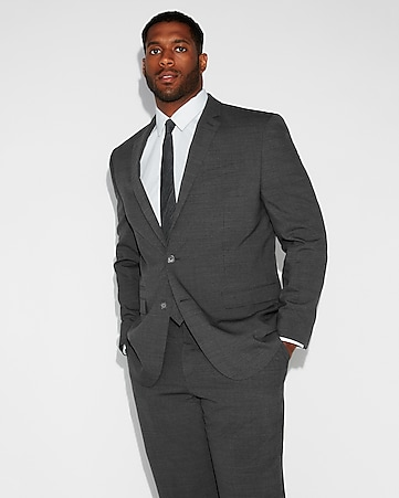 Express View Slim Charcoal Gray Check Stretch Wool Blend Suit Jacket