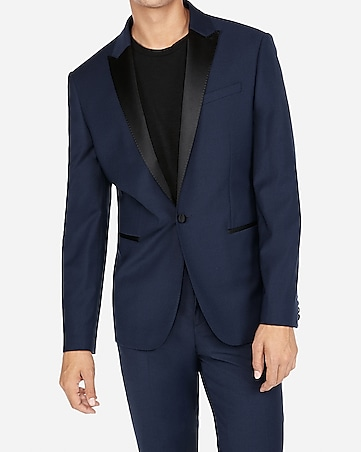 209dcf15bf41 Express View · slim navy wool-blend performance stretch tuxedo jacket