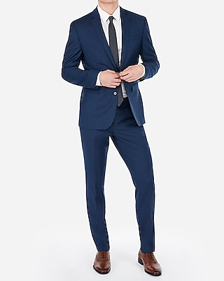 Deals on Express Slim Blue Wool-Blend Stretch Suit Jacket Mens