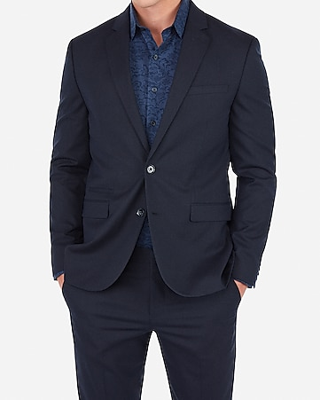 Express Slim Navy Wrinkle-resistant Stretch Suit Jacket + Pant