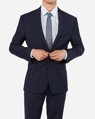 Classic Navy Wrinkle Resistant Wool Blend Performance Stretch Suit Jacket by Express