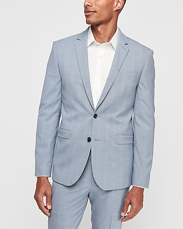 Extra Slim Light Blue Plaid Wrinkle Resistant Stretch Suit Jacket by Express