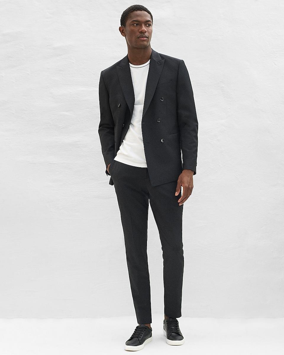EXPRESS Men's Slim Black Double Breasted Performance Wool Suit Jacket (Black 98)