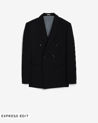 Deals on Express Mens Slim Black Double Breasted Wool Suit Jacket