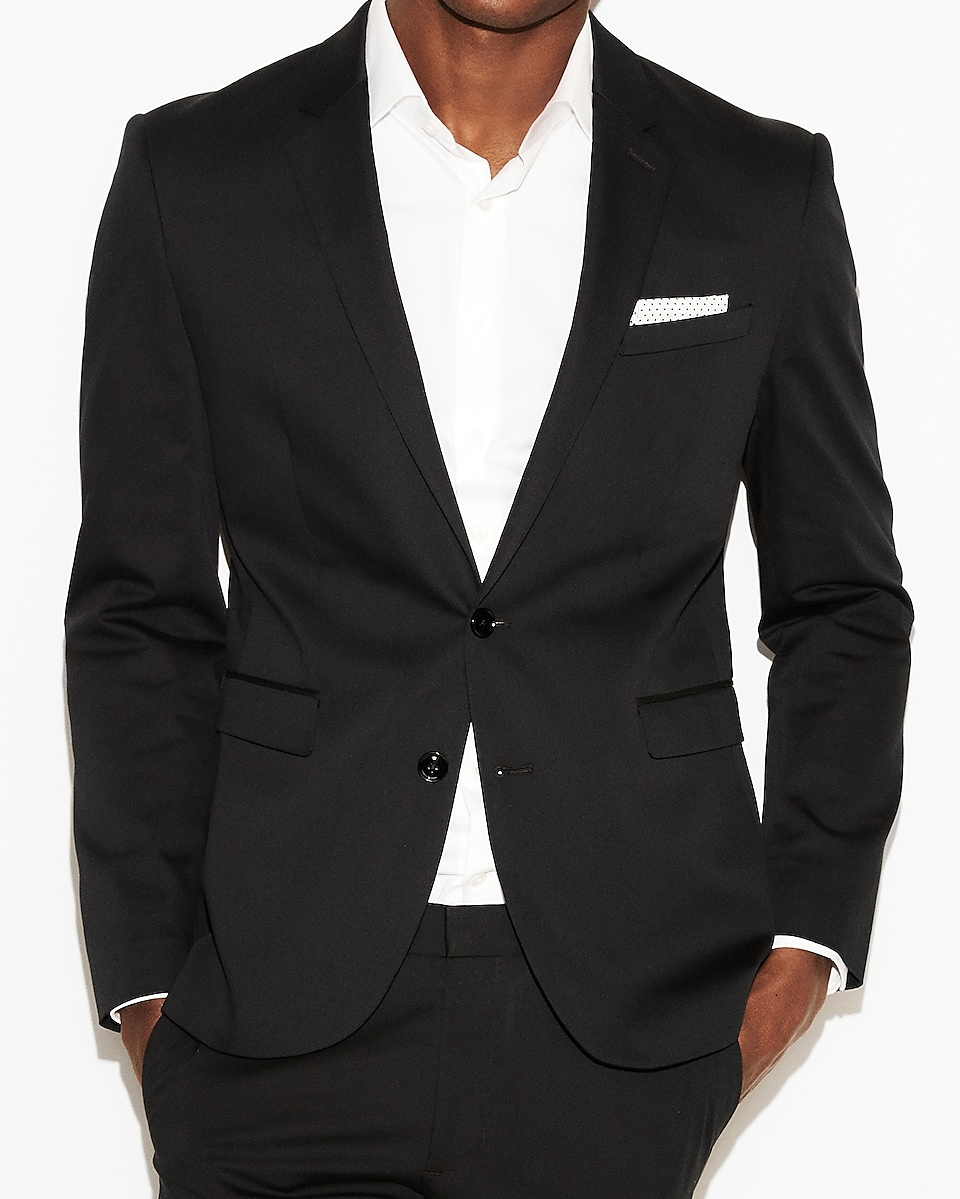 Express View · extra slim black cotton sateen suit jacket