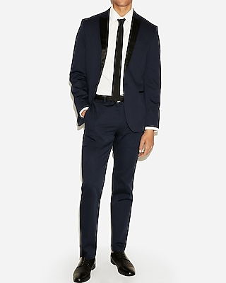 slim navy cotton sateen tuxedo jacket