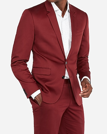 30eac562fa5 Express View · extra slim burgundy cotton sateen stretch suit jacket