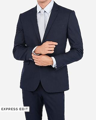Extra Slim Navy Blue Cotton Blend Suit Jacket + Extra Slim Blend Suit Pant