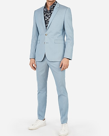 88e0eb007b82 Express View · extra slim light blue cotton blend stretch suit jacket