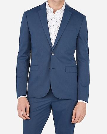 393cc8c55f15 Express View · slim medium blue stripe cotton blend stretch suit jacket