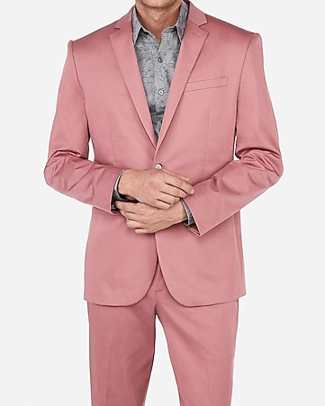 a29a5ffcde44 Express View · slim pink cotton sateen performance stretch suit jacket
