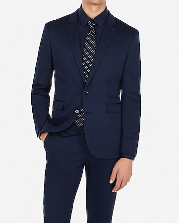 0af55f26b026 Express View · extra slim navy performance stretch cotton blend suit jacket