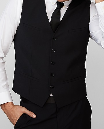 a291c85e8c4b Express View · black performance stretch wool-blend suit vest