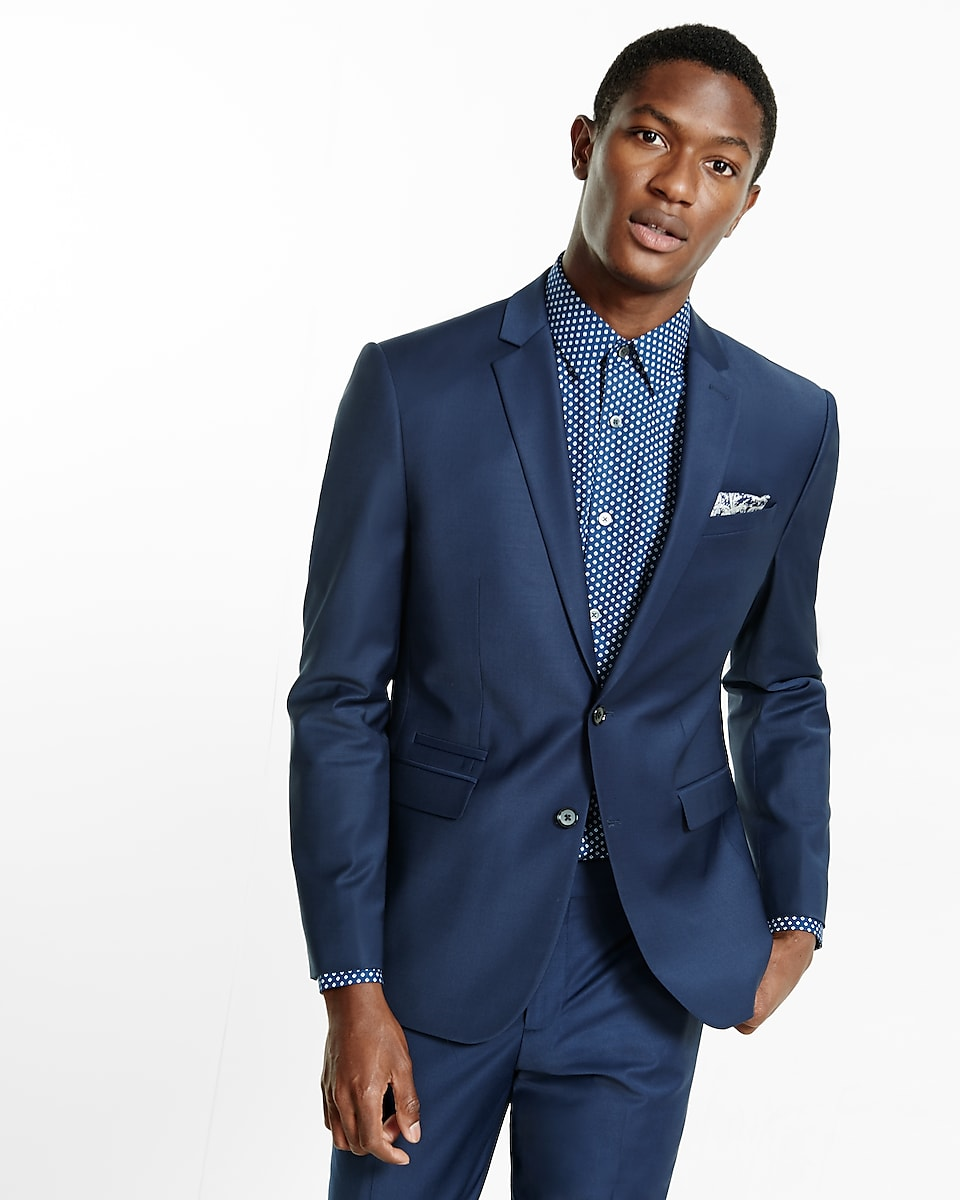 Slim Navy Performance Stretch Wool Blend Suit Jacket | Express