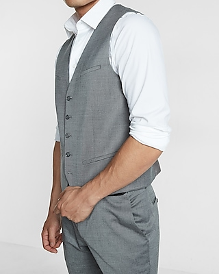 Gray Wool Blend Oxford Suit Vest Express