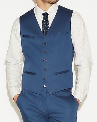 Blue Cotton Sateen Suit Vest Express