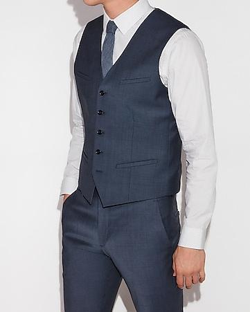 6339eab58181a Express View · blue performance stretch wool-blend suit vest