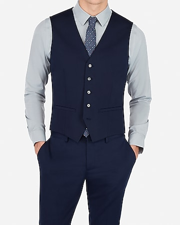 c55f27fc5f4 Express View · navy cotton blend performance stretch suit vest