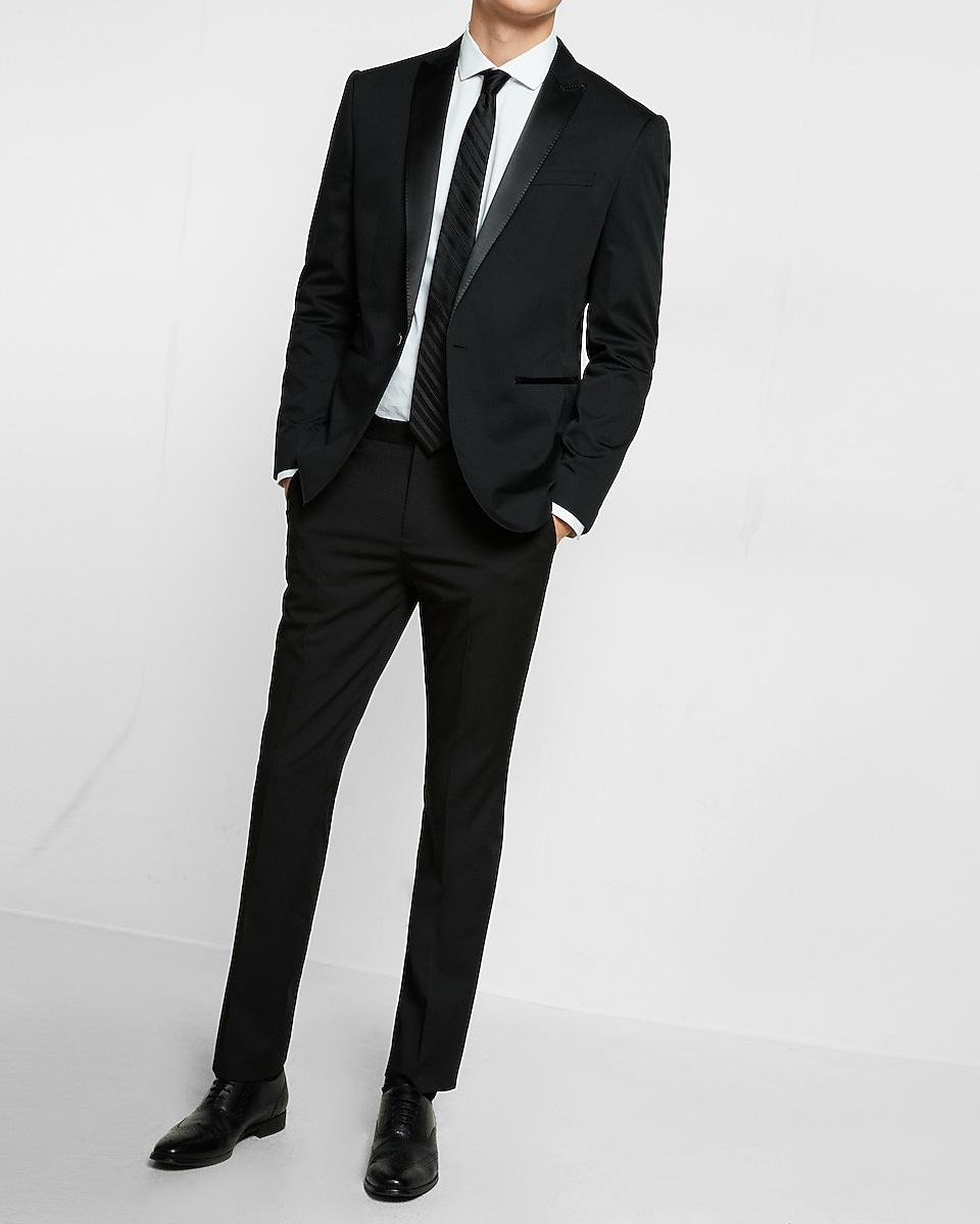 Express Men's Slim Black Cotton Sateen Tuxedo Jacket