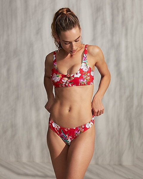 e7610f33aa Print Knot Front Cut-out Bikini Top | Express