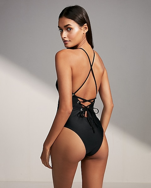 62faa716f0c5 Deep V Lace-up One-piece Swimsuit   Express