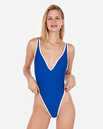 3b40230f853 Express View · binded deep v ultra high leg one-piece swimsuit