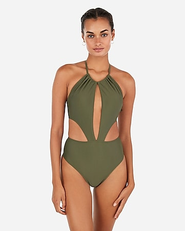 5306721766 Express View · high neck open front one-piece swimsuit