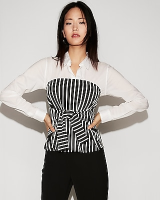 petite striped tie front tube top