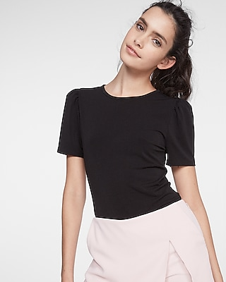 petite puffed short sleeve top