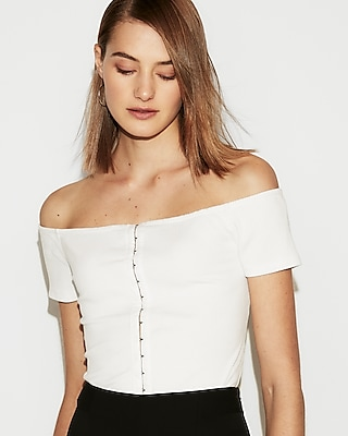 Ribbed Hook Front Off The Shoulder Tee by Express