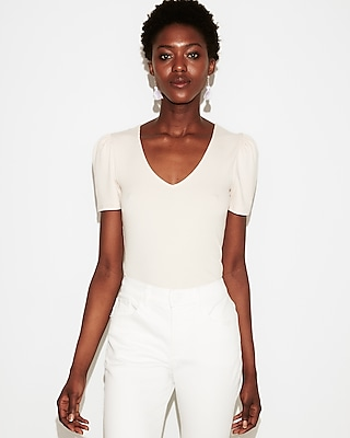 petite ribbed puff shoulder v-neck top