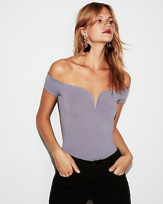 petite fitted sweetheart off shoulder top